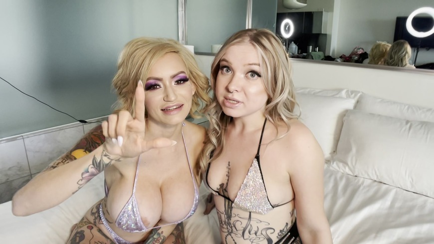 Hot blondes humiliate your small cock - clip cover-front